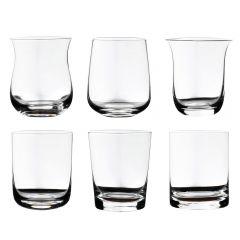 Set 6 pahare whisky/apa/racoritoare, Bitossi, forme diferite pentru toate tipurile de bauturi, 400 ml