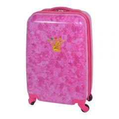 Troler cabina, eticheta nume+lacat cu cifru, Disney Prinsessia, valiza/geamantan 4 roti cu fermoar dublu, roz, ABS