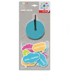 Ceas de perete sticker neopren, mesaje haioase, Do it yourself, ceas decorativ, multicolor, O'Deco