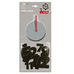 Ceas de perete sticker neopren, cifre, Do it yourself, decorativ, gri/rosu/negru, O'Deco
