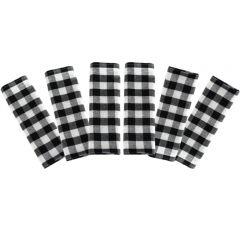 Prosop de bucatarie, bumbac, set 6 prosoape, superabsorbant, dreptunghiular, 68 x 56 cm, carouri, Tiseco, negru-alb