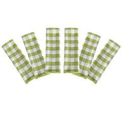 Prosop de bucatarie, bumbac, set 6 prosoape, superabsorbant, dreptunghiular, 68 x 56 cm, carouri, Tiseco, verde-alb