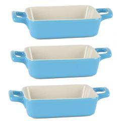 Vase mini ceramice termorezistente ramekin, set de 3, recipient sosiera ceramica, dreptunghiulara 13.5 x 10.5 cm, cu manere, Trendy, bleu