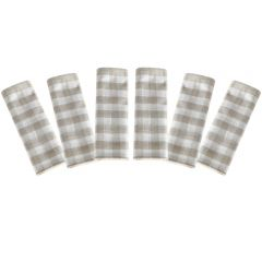 Prosop de bucatarie, bumbac, set 6 prosoape, superabsorbant, dreptunghiular, 68 x 56 cm, carouri, Tiseco, crem-alb