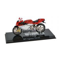 Macheta moto de colectie, motocicleta model MV Agusta 750 F4, Atlas, rosu-gri, Scara 1:24