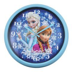 Ceas de perete, ceas cu personaje Anna si Elsa, ceas pentru camera copilului, Disney Frozen, d 30 cm, bleu