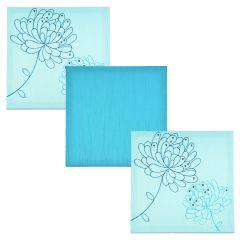 Set tablouri multicanvas din matase cu broderie si paiete, 3 piese cu aplicatii manuale, 28 x 28 cm, bleu