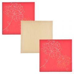Set tablouri multicanvas din matase cu broderie si paiete, 3 piese cu aplicatii manuale, 28 x 28 cm, rosu