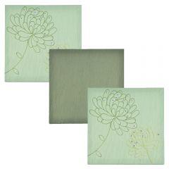 Set tablouri multicanvas din matase cu broderie si paiete, 3 piese cu aplicatii manuale, 28 x 28 cm, verde