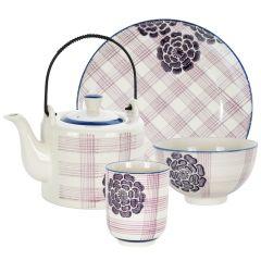 Ceainic + 4 farfurii + 4 cani + 4 boluri, set de 13 piese, set mic dejun, set servire ceai/cafea in familie, Pomax Mitsuko, model dungi mov