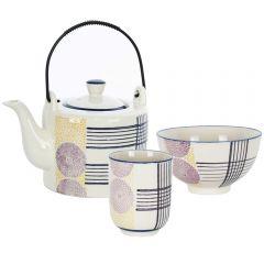 Ceainic cu 2 cani si 2 boluri, set de 5 piese, set mic dejun, ceramica, set servire ceai/cafea, Pomax Vivica, model dungi albastre
