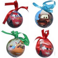 Globuri ornamentale, Disney, set de 4, model desene animate Cars, 4 x glob ornament, 7 cm