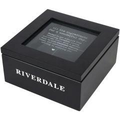 Cutie pentru ceai, cu capac, 4 compartimente, lemn, 16 x 16 x 8 cm, negru, Riverdale