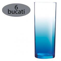 Set 6 pahare Luminarc, 330 ml, pahar long drink, bleu transparent