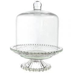 Platou tip clopot pentru prajituri/bomboane, Cosy&Trendy, sticla, picior sticla cu capac cupola, d 16 cm, h 20 cm, transparent