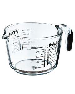 Cana gradata cu maner, Pyrex, sticla groasa 5 mm, pentru masurare ingrediente lichide si solide, termorezistenta, 1L