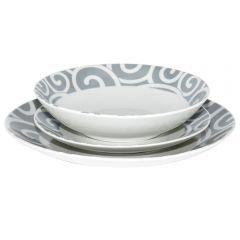 Set 3 farfurii, ceramica, Domino, set servire masa farfurii si bol, farfurie intinsa 26.5 cm, farfurie supa 20.5 cm, farfurie aperitive 20.5 cm, alb-gri