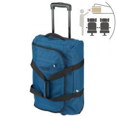 Troler de cabina textil, geanta de voiaj cu 2 roti, valiza cu buzunare frontal si lateral, 55 x 35 x 20 cm, Princess Traveller, albastru