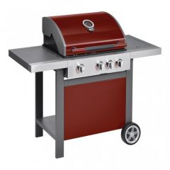 Gratar cu 3 arzatoare otel si un arzator lateral, cu termometru, Jamie Oliver, grill, barbeque exterior, alimentare cu gaz, 114 x 135.2 x 62 cm, suprafata de gatire 64 x 45 cm, rosu