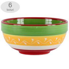 Bol ceramic, Quasar&Co, set de 6, castron ceramic cu model traditional 17 x 8 cm, multicolor