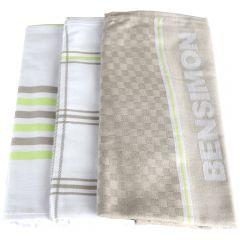 Set 3 prosoape bucatarie, 50 x 70 cm, 100% bumbac, super absorbante, maro/alb, Bensimon