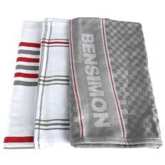 Set 3 prosoape bucatarie, 50 x 70 cm, 100% bumbac, super absorbante, gri/alb, Bensimon