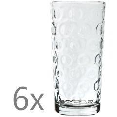 Set 6 pahare sticla, 300 ml, d 6,5 x h 13 cm, pahare suc/apa, cu model, transparent, Quasar