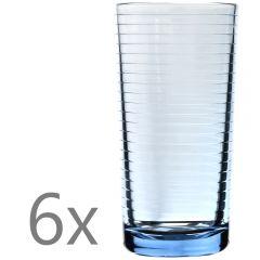 Set 6 pahare sticla, 300 ml, d 6,5 x h 13 cm, pahare suc/apa, cu model, bleu transparent, Quasar