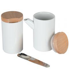 Set latiera, zaharnita si lingurita, cu capac, portelan/bambus/inox, 2 x 200 ml, Vivess