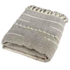 Carpeta 60 x 90 cm, 100% bumbac, covor tesut manual, cu franjuri, bej, Quasar&Co.