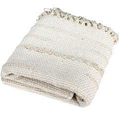 Carpeta 60 x 90 cm, 100% bumbac, covor tesut manual, cu franjuri, crem, Quasar&Co.