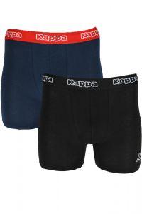 Set de 2 boxeri pentru barbati, banda elastica cu logo Kappa, bumbac, boxeri barbatesti, lenjerie intima, negru/bleumarin, 2XL