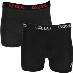 Set de 2 boxeri pentru barbati, banda elastica cu logo Kappa, bumbac, boxeri barbatesti, lenjerie intima, negru/gri inchis, S