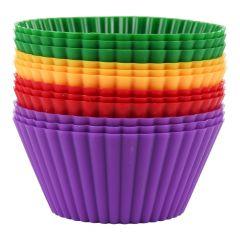 Forme briose Maxx, set de 12 bucati, silicon, 12 x forma prajitura, forme de copt mini tarte, 7 cm, multicolor
