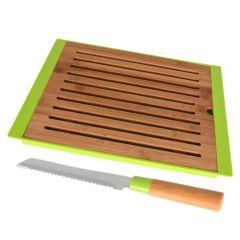 Set tocator paine tava firimituri si cutit, tocator bambus 38.5 x 27.5 cm + cutit lama zimtata 21 cm cu maner bambus