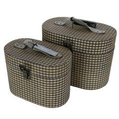 Set 2 cutii lemn, vintage, acoperire textila, cutii ornamentale retro, 25 x 16 x 18 cm si 21 x 12 x 15 cm, J-Line