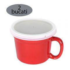 Set 2 cani tip ramekin cu capac, pretabile cuptor, bol ceramica cu toarta si capac plastic, Berghoff, 500 ml, 15 x 12 x 9.5 cm
