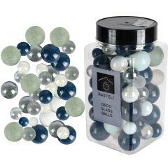 Sfere decorative de sticla, bile ornamentale, Rasteli, Ø 6-15 mm, 500 g, aspect lucios/mat, alb-bleumarin, art. 3350