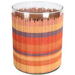 Vaza cilindrica din sticla cu ornament bambus multicolor, Ø 13.5 x h 17 cm