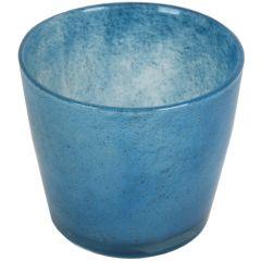Ghiveci plante/flori, vas/vaza sticla, recipient decorativ, d 15 cm x h 13 cm, albastru, Maxx