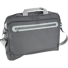 Geanta laptop, 2 compartimente, compartiment buretat laptop, manere si bareta umar, buzunar exterior cu fermoar, bareta de prins pe troler, material impermeabil, 40 x 30 x 6 cm, Avenue, gri inchis