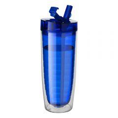 Pahar cu pereti dubli pentru bauturi calde si reci, 600 ml, pahar cu pai pentru bauturile reci si fanta pentru bauturi calde, termos, plastic, Avenue, albastru
