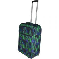 Troler marime medie, CDB by Quasar&Co., 65 x 41 x 21 cm, textil, verde-albastru