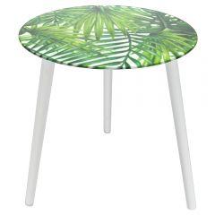 Masa cu blat de sticla, masuta rotunda cu 3 picioare din lemn, pentru cafea, Ø40 x h45 cm, model frunze