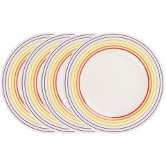 Set de 4 farfurii, 22 cm, 4 x farfurie ceramica aperitiv/fel principal, mic dejun, set servire masa, Bugatti, alb dungi multicolore