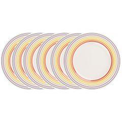Set de 6 farfurii, 27 cm, 6 x farfurie ceramica aperitiv/fel principal, mic dejun, set servire masa, Bugatti, alb dungi multicolore