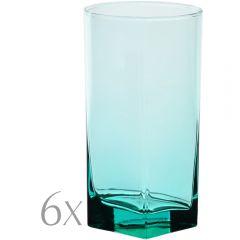 Set 6 pahare sticla, 300 ml, Ø 6.5 x h 13 cm, model long drink, turcoaz, Pasabahce