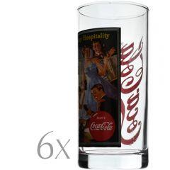 Set 6 pahare sticla, 290 ml, Ø 6 x h 13.5 cm, model Coca-Cola, transparent-multicolor, Quasar&Co.