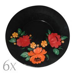 Set 6 farfurii aperitiv/desert, sticla, rotunde, Pasabahce, negru cu flori, Ø 19.3