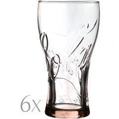 Set 6 pahare sticla, 350 ml, Ø 7.5 x h 14.5 cm, model Coca-Cola, transparent-roz, Quasar&Co.
